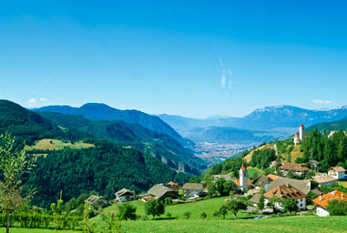 Panoramic view of Bolzano from the Renon