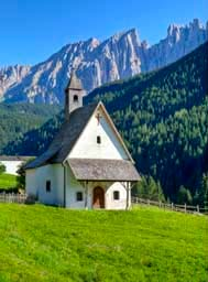 A pretty Church in the Catinaccio Latemar mountains, Dolomites