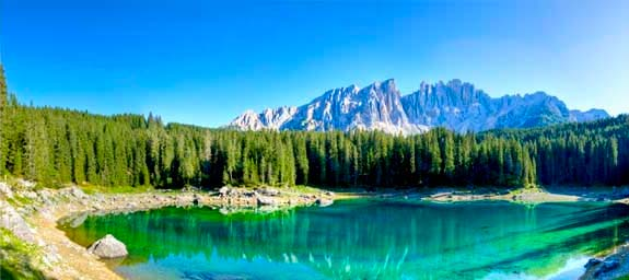 Carezza lake and its emerald green waters