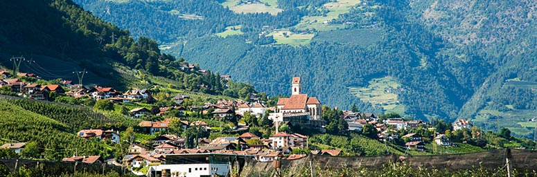 The village of Marlengo, situated on a small hill with its big and centrally located church
