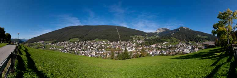 View of Ortisei, the natural ambience and the village