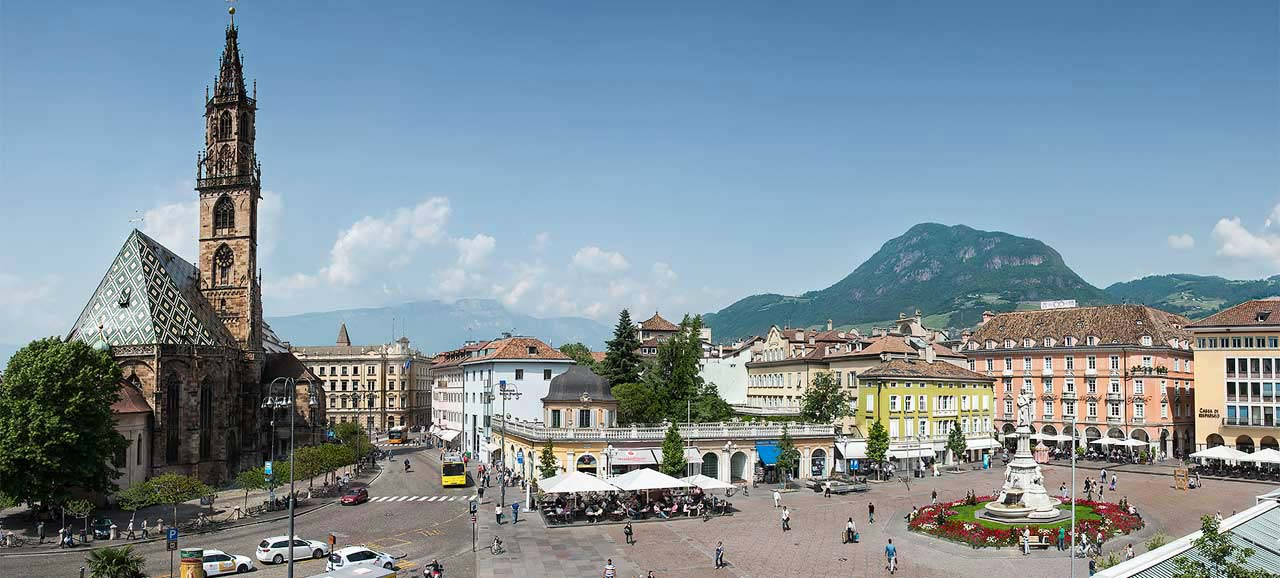 Walther square and the cathedral facing each other in the city of Bolzano