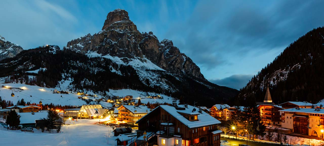 Night view of Corvara in winter time