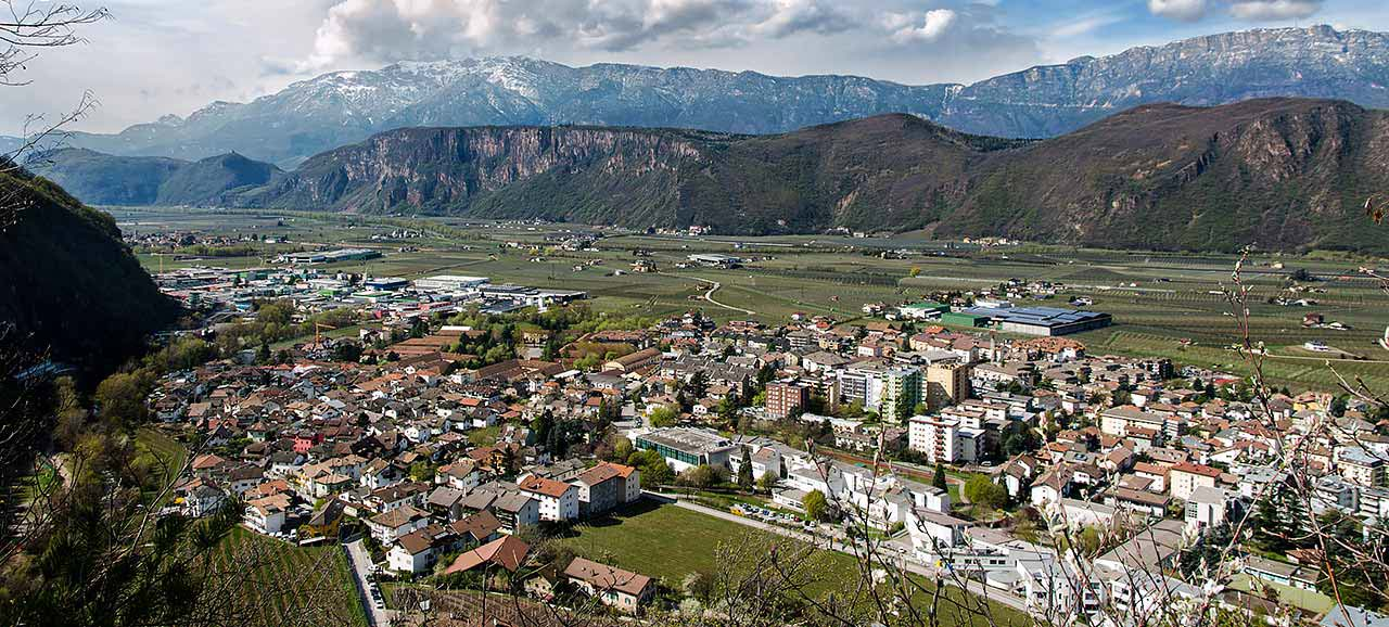 Panoramic view of the town of Laives in South Tyrol