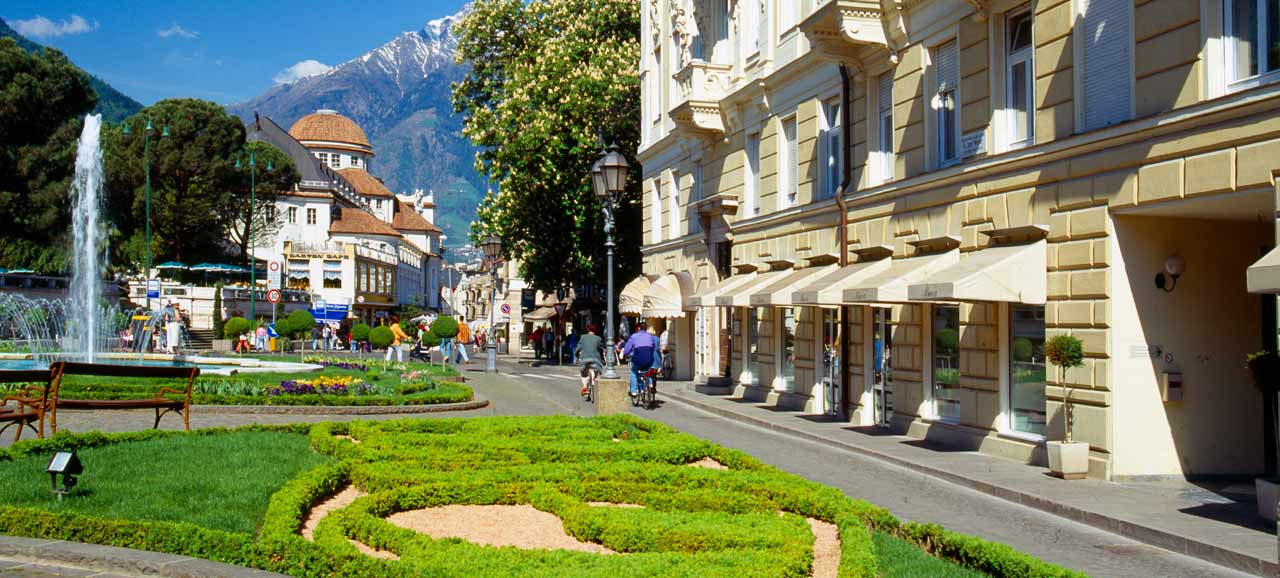 View of Merano, thermal city in South Tyrol