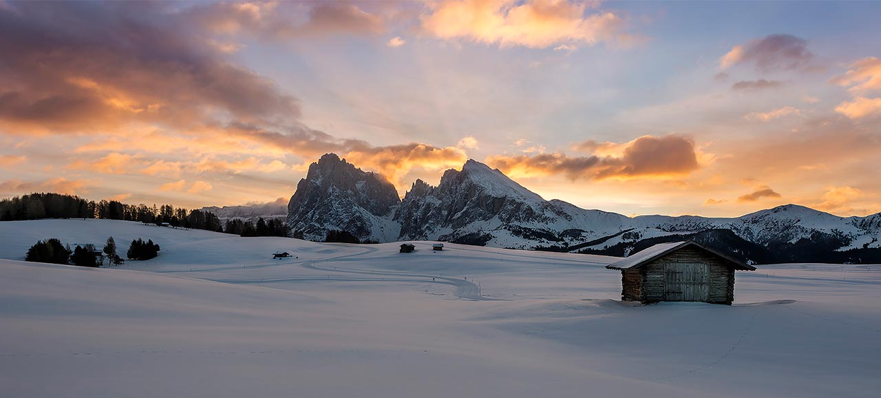 L'alba all'Alpe di Siusi in Alto Adige