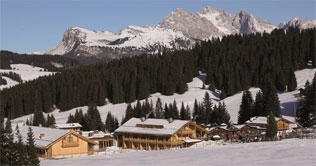 Winter time at the Siusi Alps at the Tirler Dolomites Living Hotel